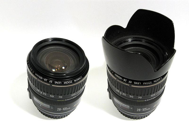 Canon EF 28-105 with and without lens hood