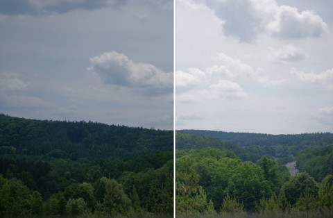 Sample photography with and without polarizer