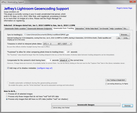 Adobe Lightroom 3 geotagging